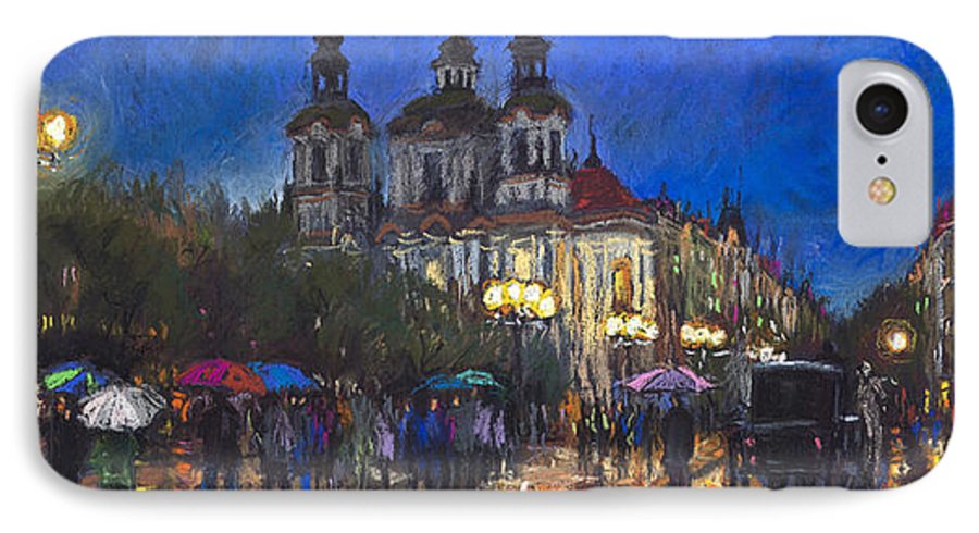 Prague IPhone 7 Case featuring the pastel Prague Old Town Square St Nikolas Ch by Yuriy Shevchuk