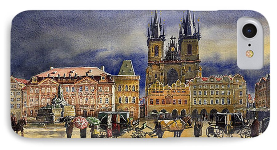Watercolor IPhone 7 Case featuring the painting Prague Old Town Squere After Rain by Yuriy Shevchuk