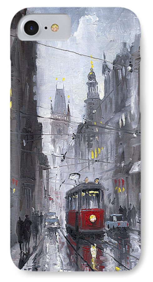Oil On Canvas IPhone 7 Case featuring the painting Prague Old Tram 03 by Yuriy Shevchuk