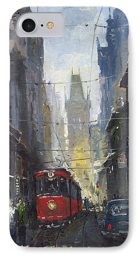 Oil On Canvas Paintings IPhone 7 Case featuring the painting Prague Old Tram 05 by Yuriy Shevchuk