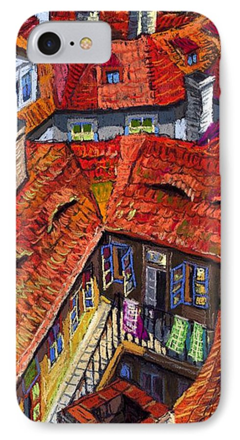 Pastel IPhone 7 Case featuring the painting Prague Roofs 01 by Yuriy Shevchuk