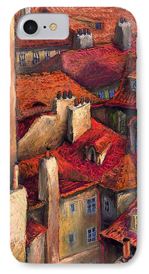 Prague IPhone 7 Case featuring the painting Prague Roofs by Yuriy Shevchuk