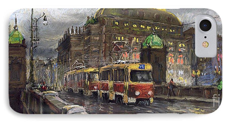 Prague IPhone 7 Case featuring the painting Prague Tram Legii Bridge National Theatre by Yuriy Shevchuk