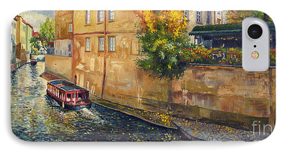 Oil.prague IPhone 7 Case featuring the painting Prague Venice Chertovka 2 by Yuriy Shevchuk