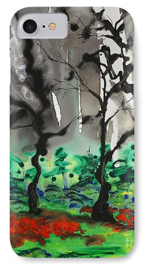 Forest IPhone 7 Case featuring the painting Primary Forest by Nadine Rippelmeyer
