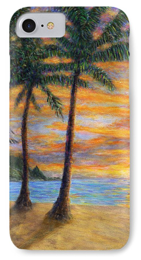 Coastal Decor IPhone 7 Case featuring the painting Princeville Beach Palms by Kenneth Grzesik
