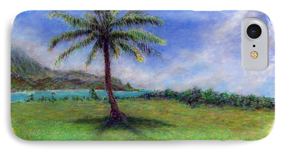 Rainbow Colors Pastel IPhone 7 Case featuring the painting Princeville Palm by Kenneth Grzesik