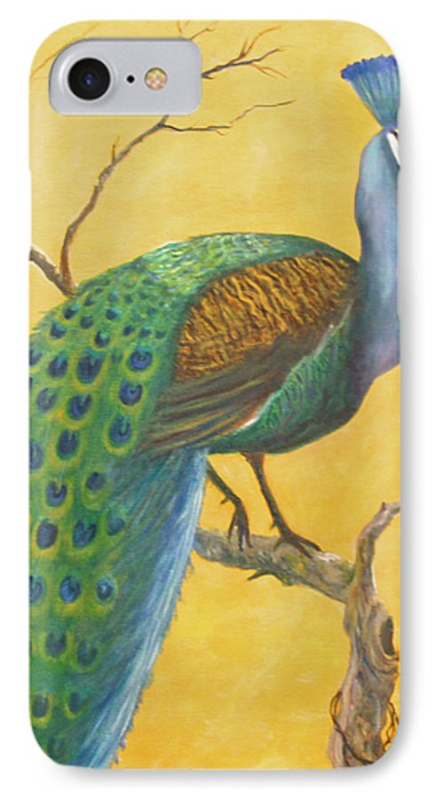 Peacock; Birds; Fall Leaves IPhone 7 Case featuring the painting Proud As A Peacock by Ben Kiger