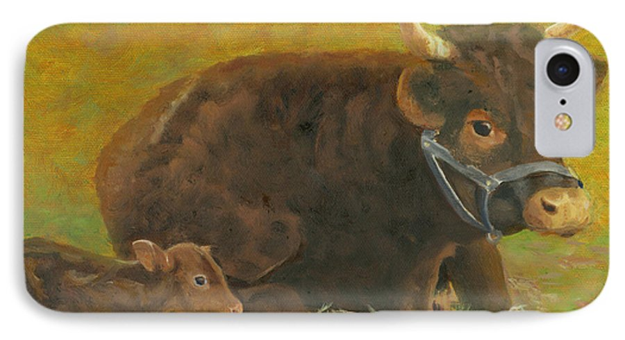 Cow Calf Bull Farmscene IPhone 7 Case featuring the painting Proud Pappa by Paula Emery
