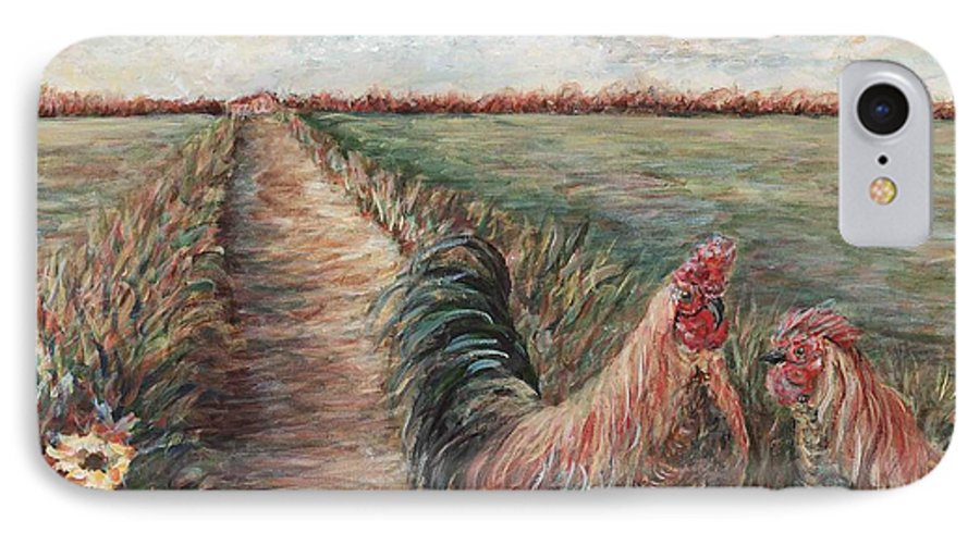 Provence IPhone 7 Case featuring the painting Provence Roosters by Nadine Rippelmeyer