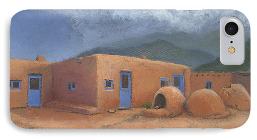 Taos IPhone 7 Case featuring the painting Puertas Azul by Jerry McElroy
