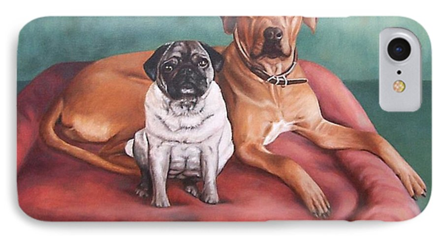 Dogs IPhone 7 Case featuring the painting Pug And Rhodesian Ridgeback by Nicole Zeug