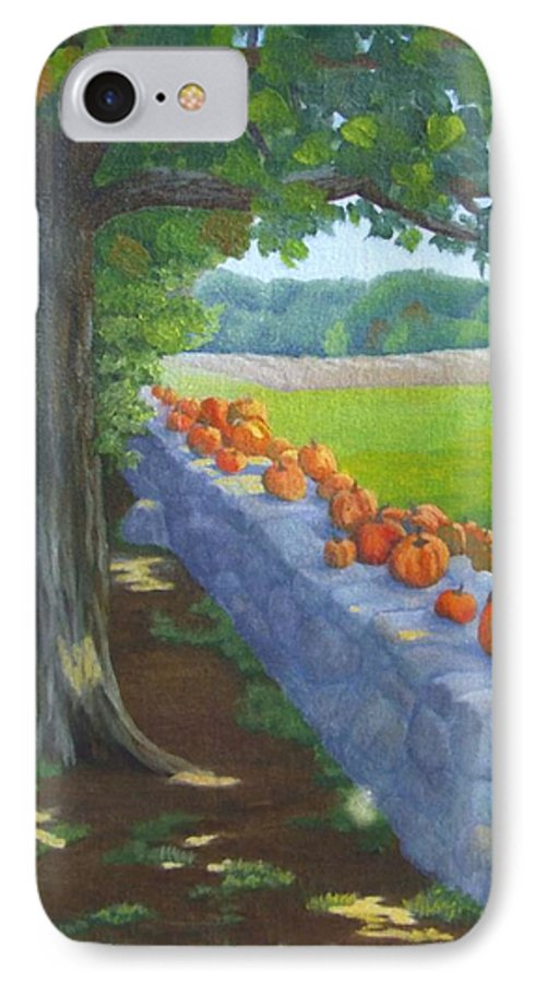 Pumpkins IPhone 7 Case featuring the painting Pumpkin Muster by Sharon E Allen
