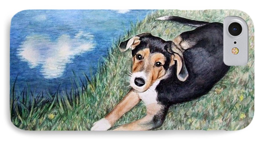 Dog IPhone 7 Case featuring the painting Puppy Max by Nicole Zeug