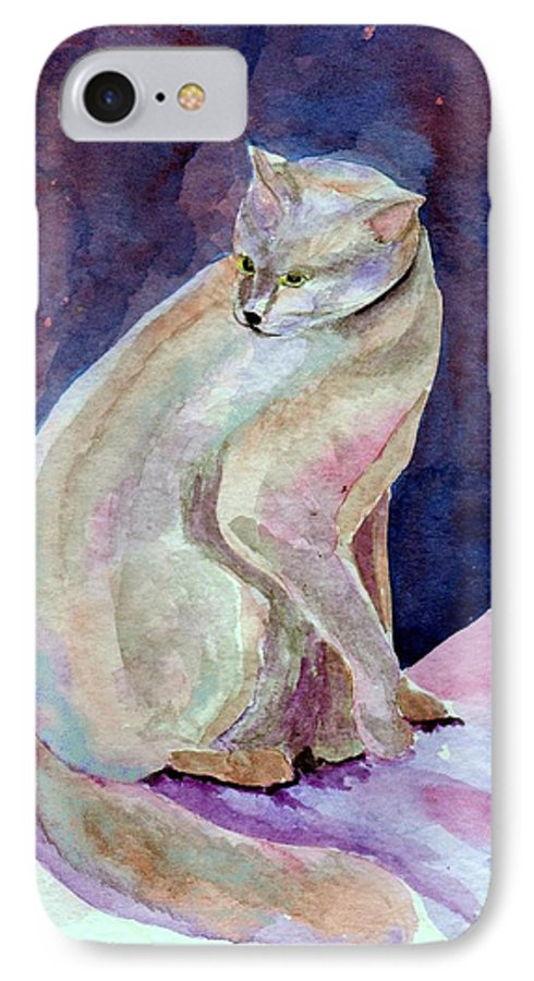 Cat IPhone 7 Case featuring the painting Purple Cat by Susan Kubes