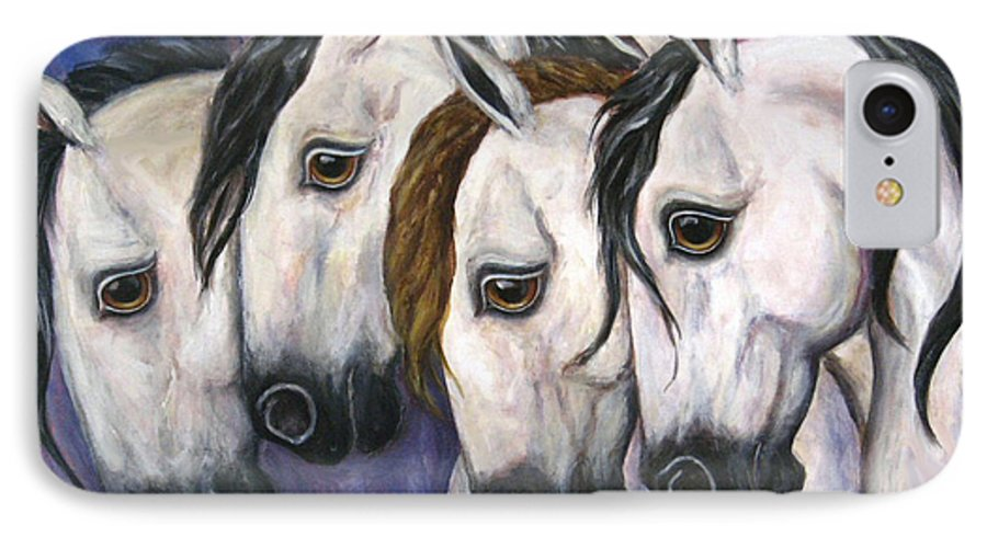 Horse Painting IPhone 7 Case featuring the painting Purple Haze by Frances Gillotti