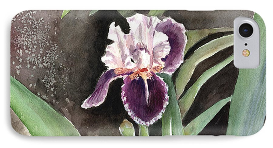 Flower IPhone 7 Case featuring the painting Purple Iris by Arline Wagner