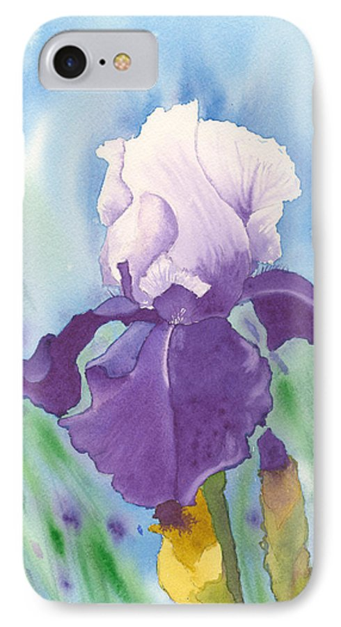 Iris IPhone 7 Case featuring the painting Purple by Louise Magno