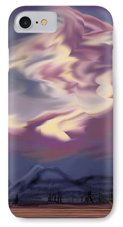 Clouds IPhone 7 Case featuring the painting Purple Mountain Majesty by Anne Norskog