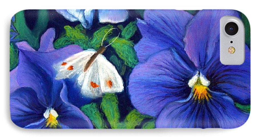 Pansy IPhone 7 Case featuring the painting Purple Pansies And White Moth by Minaz Jantz
