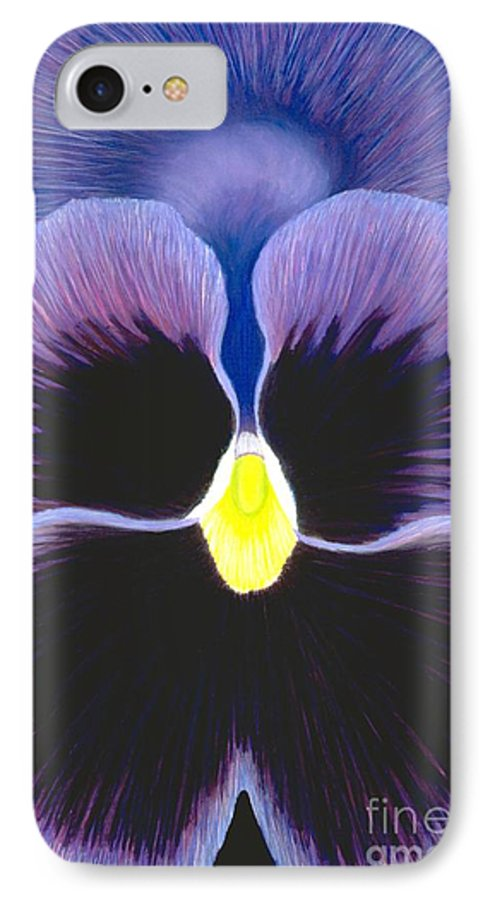 Pansy IPhone 7 Case featuring the painting Purple Pansy by Mary Erbert