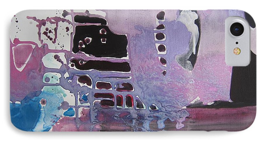 Abstract Paintings IPhone 7 Case featuring the painting Purple Seascape by Seon-Jeong Kim