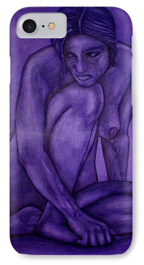 Nude Women IPhone 7 Case featuring the painting Purple by Thomas Valentine