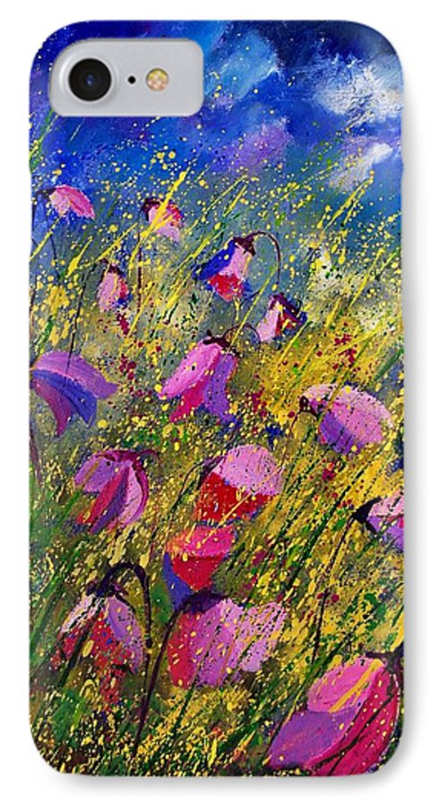 Poppies IPhone 7 Case featuring the painting Purple Wild Flowers by Pol Ledent