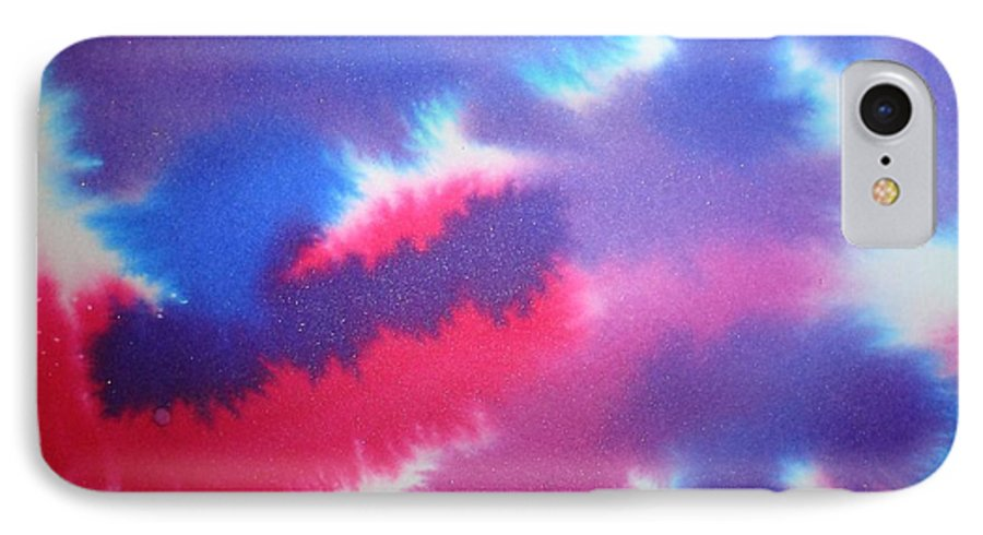 Abstract IPhone 7 Case featuring the painting Purple Wisp by Chandelle Hazen