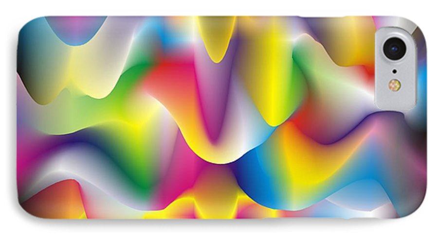 Abstract IPhone 7 Case featuring the digital art Quantum Landscape 1 by Walter Oliver Neal