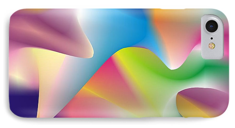 Abstract IPhone 7 Case featuring the digital art Quantum Landscape 2 by Walter Oliver Neal