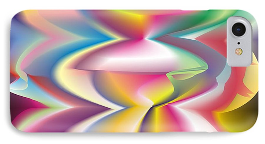 Abstract IPhone 7 Case featuring the digital art Quantum Landscape 3 by Walter Oliver Neal