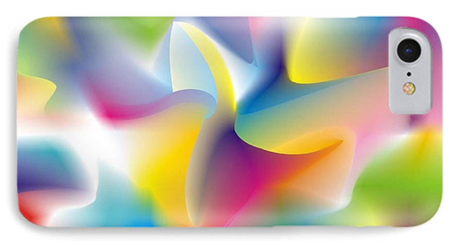 Abstract IPhone 7 Case featuring the digital art Quantum Landscape 4 by Walter Oliver Neal