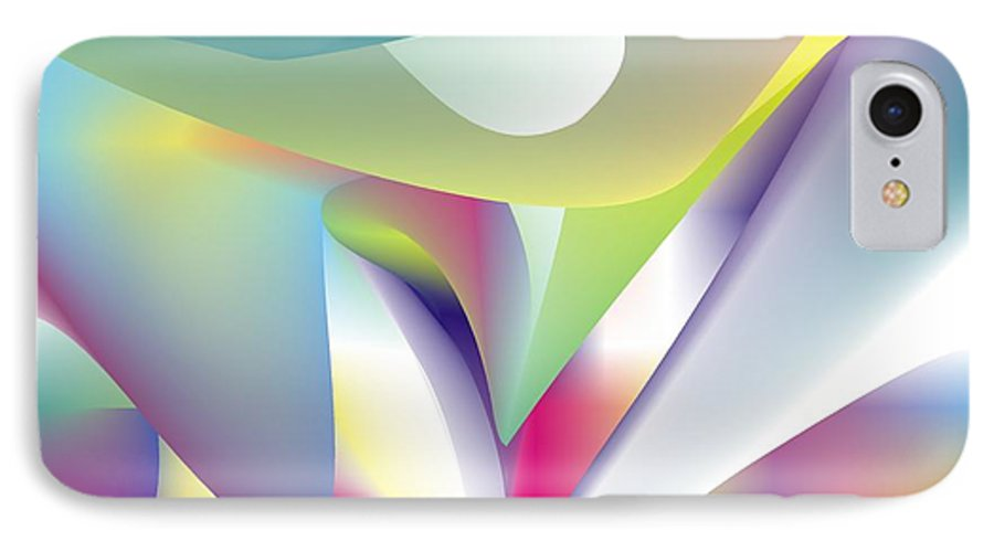 Abstract IPhone 7 Case featuring the digital art Quantum Landscape 5 by Walter Oliver Neal