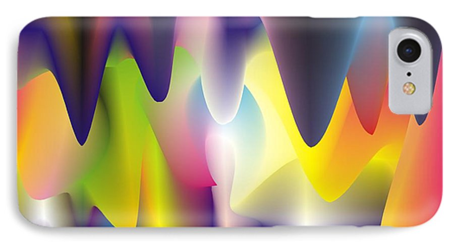 Abstract IPhone 7 Case featuring the digital art Quantum Landscape 6 by Walter Oliver Neal