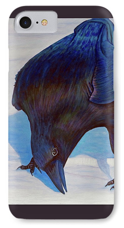 Raven IPhone 7 Case featuring the painting Que Pasa by Brian Commerford