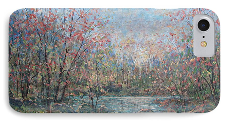 Landscape IPhone 7 Case featuring the painting Quiet Evening. by Leonard Holland