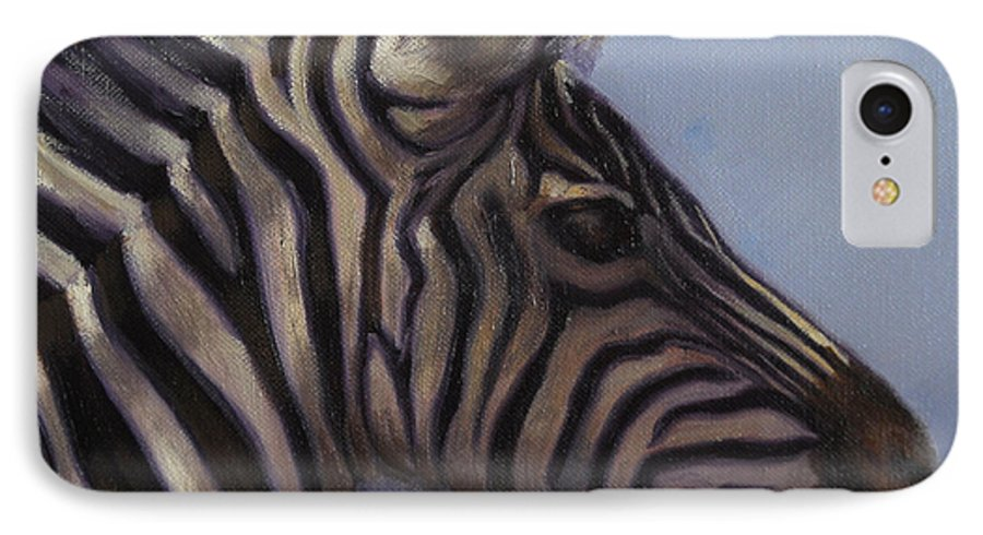 Zebra IPhone 7 Case featuring the painting Quiet Profile by Greg Neal