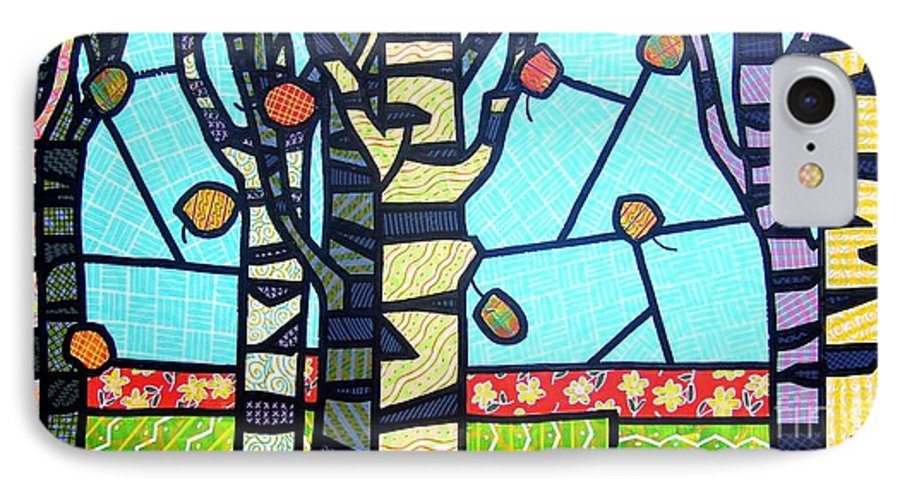 Birch Trees IPhone 7 Case featuring the painting Quilted Birch Garden by Jim Harris