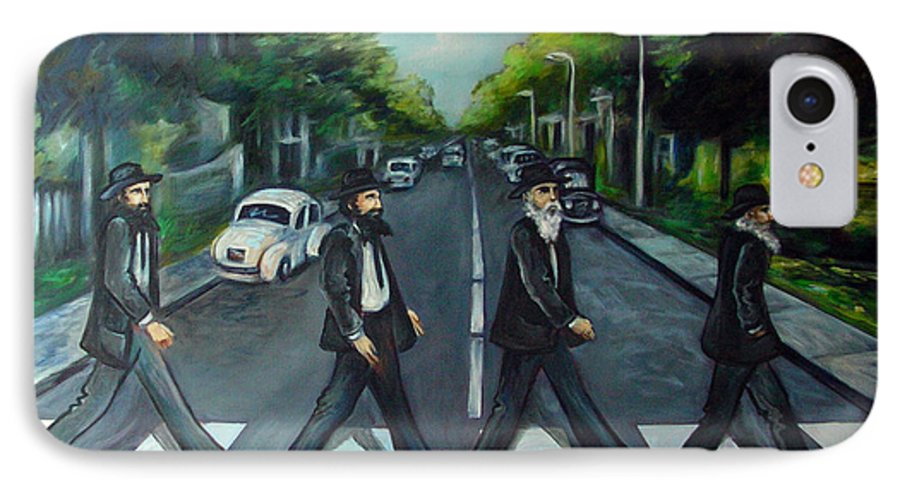 Surreal IPhone 7 Case featuring the painting Rabbi Road by Valerie Vescovi