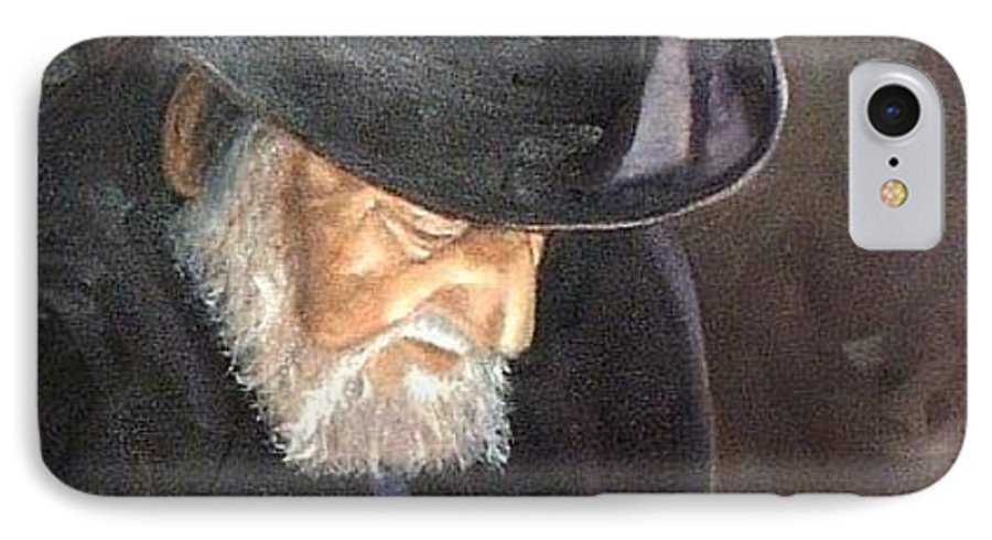 Portrait IPhone 7 Case featuring the painting Rabbi by Toni Berry
