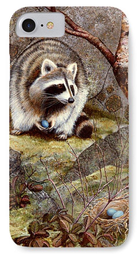 Raccoon Found Treasure IPhone 7 Case featuring the painting Raccoon Found Treasure by Frank Wilson