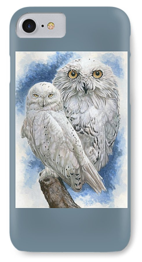 Snowy Owl IPhone 7 Case featuring the mixed media Radiant by Barbara Keith