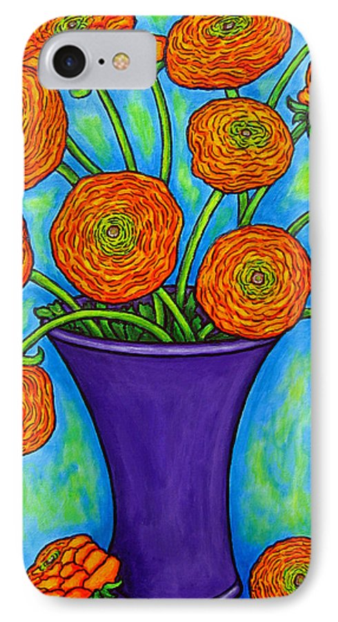 Green IPhone 7 Case featuring the painting Radiant Ranunculus by Lisa Lorenz