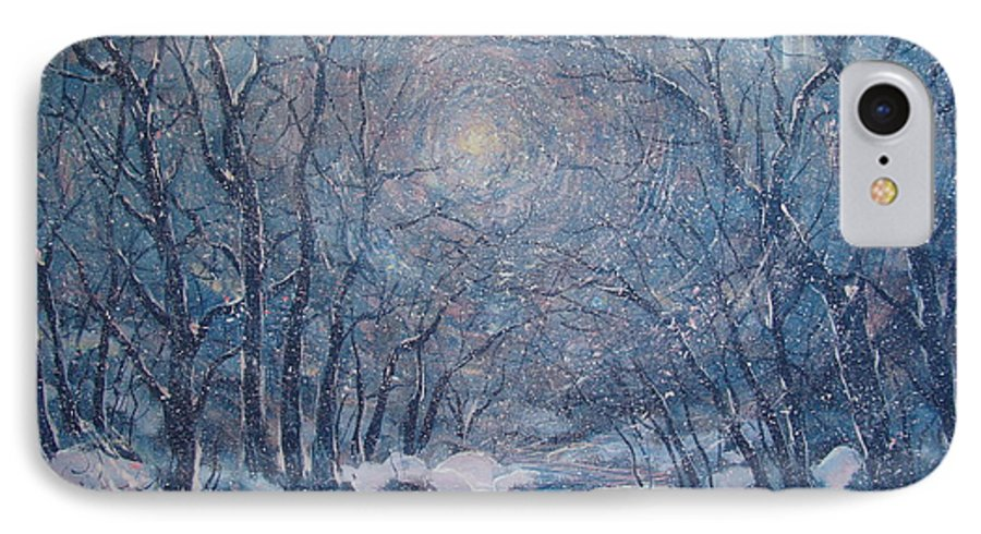 Snow Landscape IPhone 7 Case featuring the painting Radiant Snow Scene by Leonard Holland