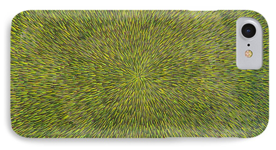 Abstract IPhone 7 Case featuring the painting Radiation With Green With Yellow by Dean Triolo