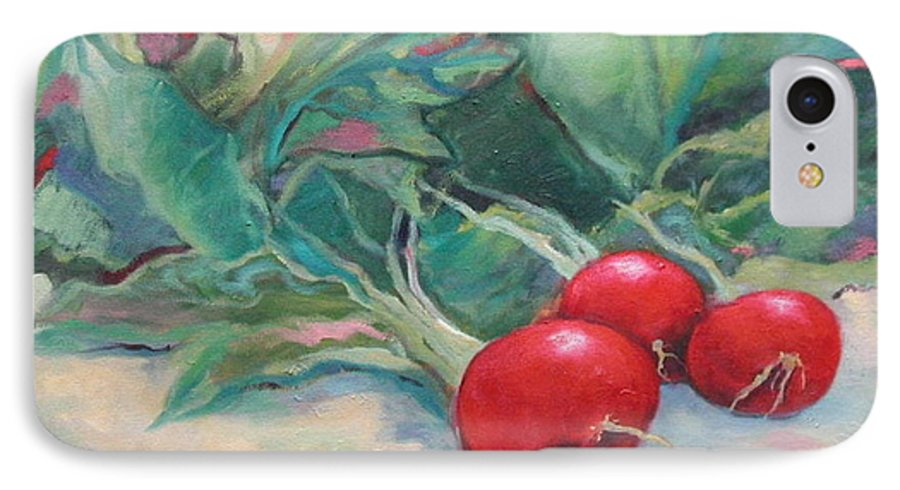 Radishes IPhone 7 Case featuring the painting Radishes by Ginger Concepcion