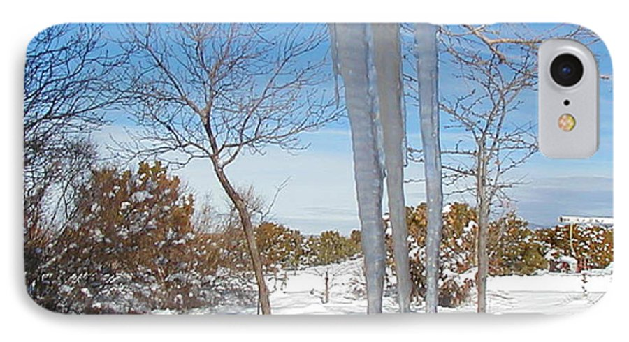 Icicle IPhone 7 Case featuring the photograph Rain Barrel Icicle by Diana Dearen
