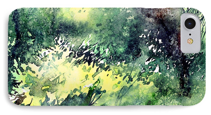 Landscape Watercolor Nature Greenery Rain IPhone 7 Case featuring the painting Rain Gloss by Anil Nene