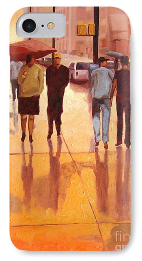 Manhattan IPhone 7 Case featuring the painting Rain In Manhattan Number Eighteen by Tate Hamilton